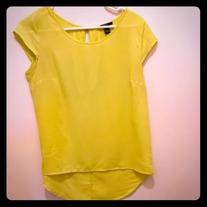 Neon chartreuse blouse with high/low hem